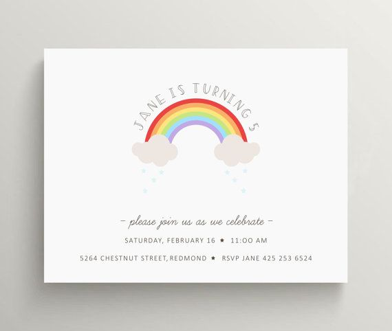 76 best party invitations images on pinterest invitations cards rainbow birthday invitation rainbow baby shower over the rainbow stationery minimalist first birthday stopboris Images