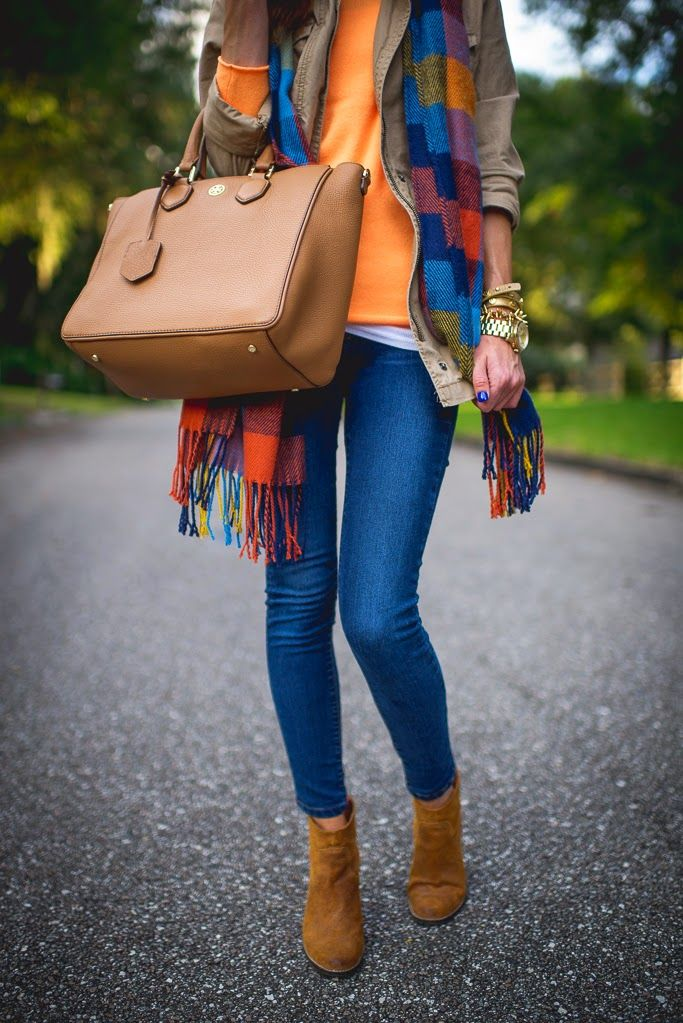 Orange sweater plaid scarf brown vest cardi jeans tan purse brown ankle boots