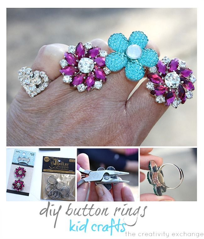 Kids craft idea- tutorial for how to turn buttons into blinged out rings {The Creativity Exchange}