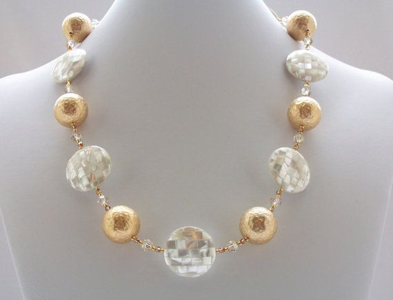 Mosaic+Pearl+Jewelry+Mother+of+Pearl+Necklace+by+ElsaWadesdesigns,+$90.00