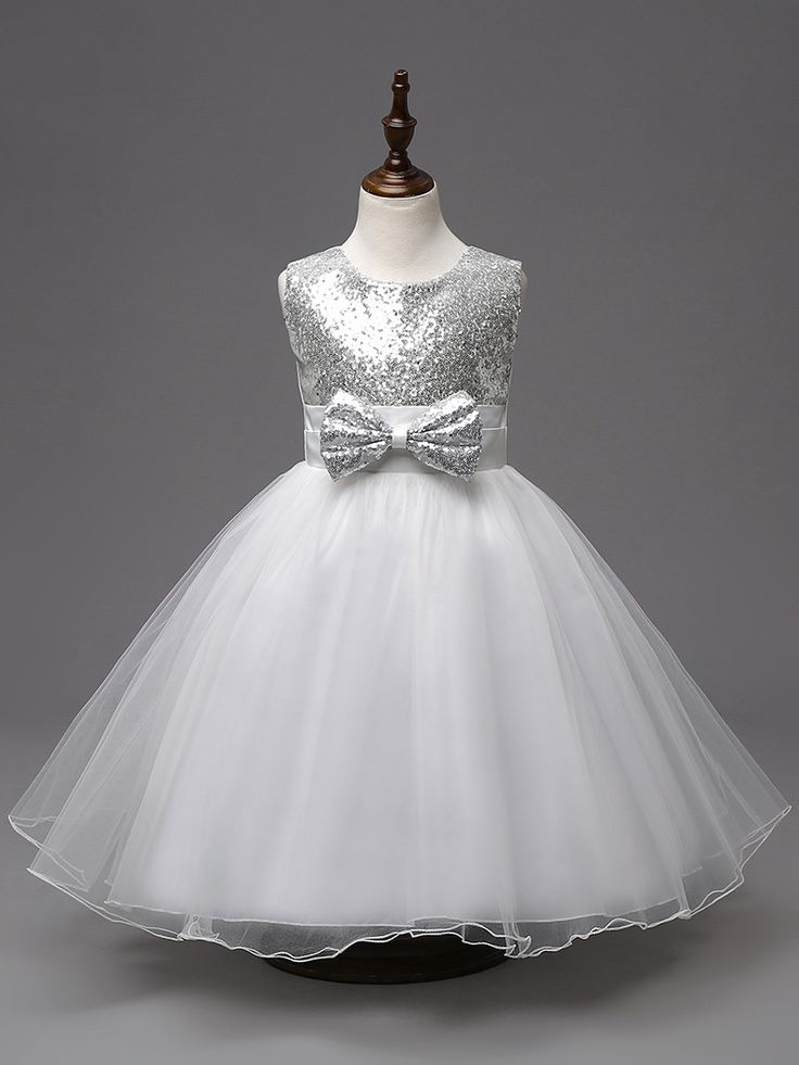 Fashion Sequined Bow Girls Party Dresses Age 3 To 10 Years Short Children Wedding Dress