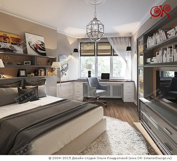 Дизайн кабинета с рабочей и спальной зоной…