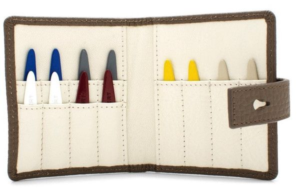 Hook & Albert 12 Pc Metal Collar Stays Travel Set in Leather Pouch