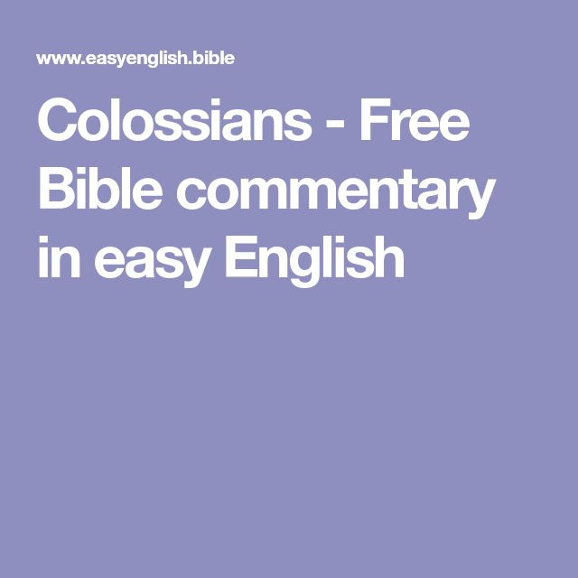 Colossians - Free Bible commentary in easy English