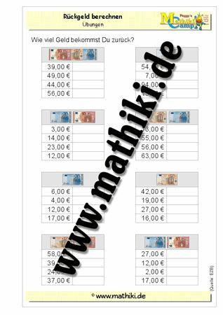 Rückgeld berechnen - ©2011-2016, www.mathiki.de - Ihre Matheseite im Internet #math #money #geld #euro #cent #arbeitsblatt #worksheet