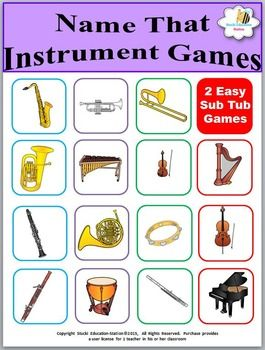 Click now to download your fun music game. This exciting game is guaranteed to quickly teach your students the names of their music instruments. Your class will love playing Name That Instrument game.  There are 2 sets of cards: one set for the Instruments of the Orchestra and another set of cards for rhythm instruments.