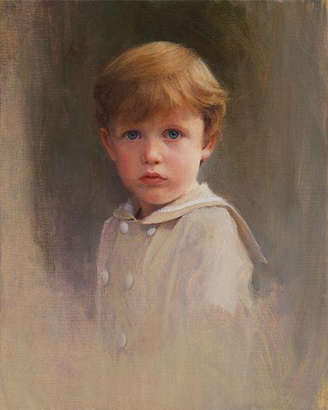 Fantastic oil vignette portrait of a young boy by a Portraits, Inc. artist