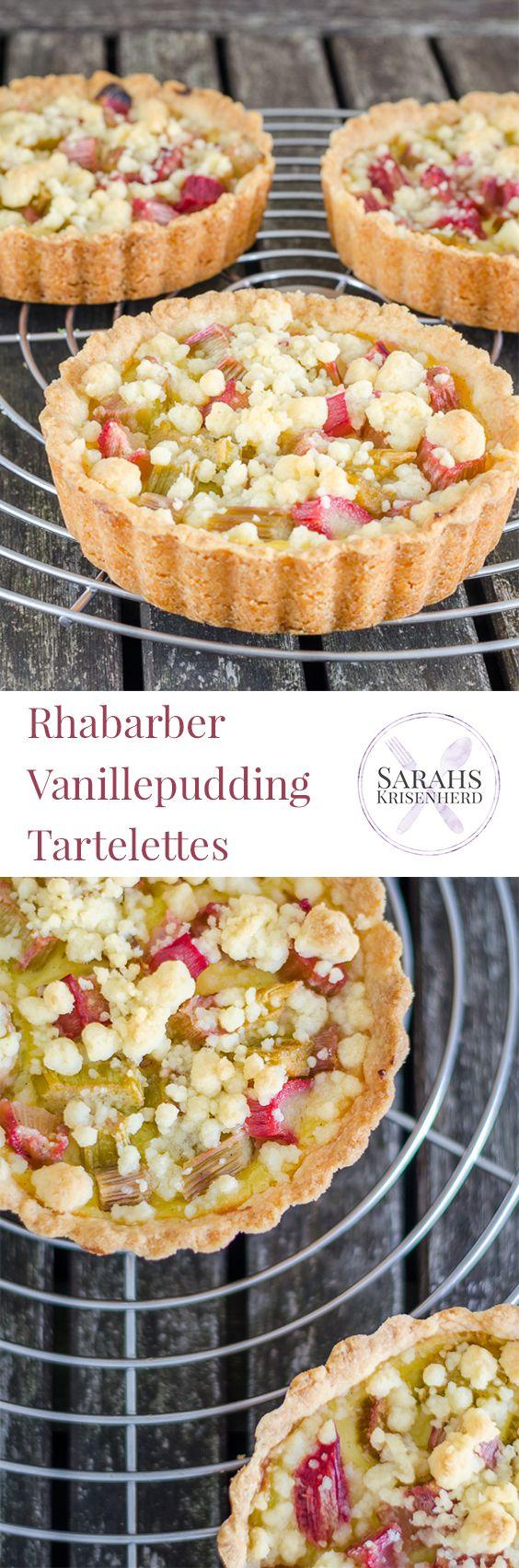 Rhabarber Vanillepudding Tartelette mit Streuseln // Rhubarb Vanilla Pudding Tartelettes with Crumbles