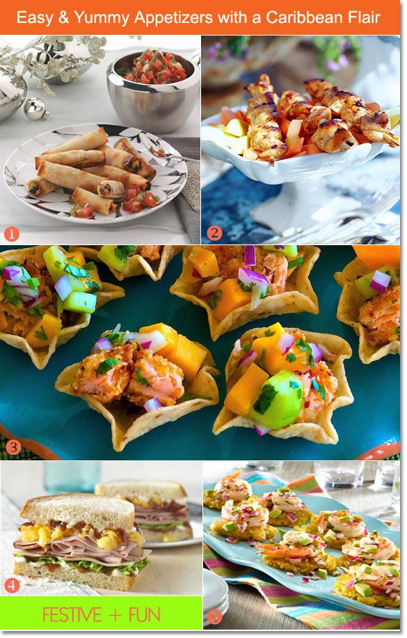 Caribbean appetizers: veggie wraps, shrimp bites, jerk chicken skewers #appetizers #caribbean #partyfood