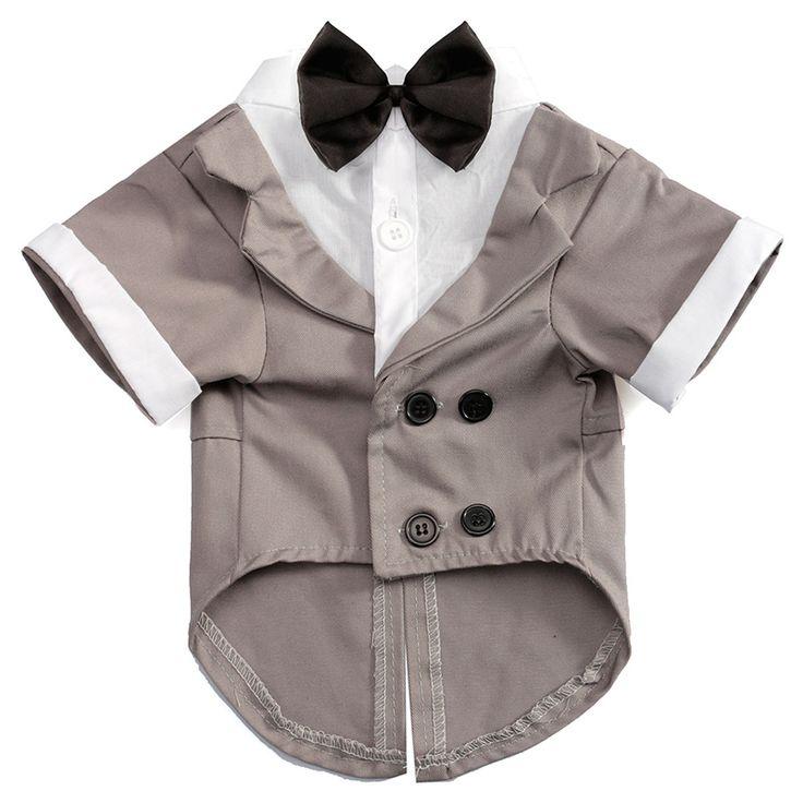 Popular Design Pet Dog Cat Puppy Clothes Gentleman Wedding Bow Tie Suit Tuxedo Tuxedo Costume Collared Shirt Grey XS S M L XL #Affiliate