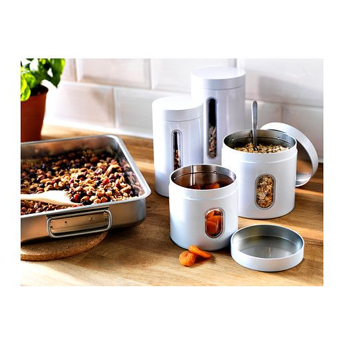 INRE Tin with lid set of 2 IKEA Suitable for cakes, biscuits and other dry foodstuffs. Space-saving; small sizes can be stacked into bigger sizes.