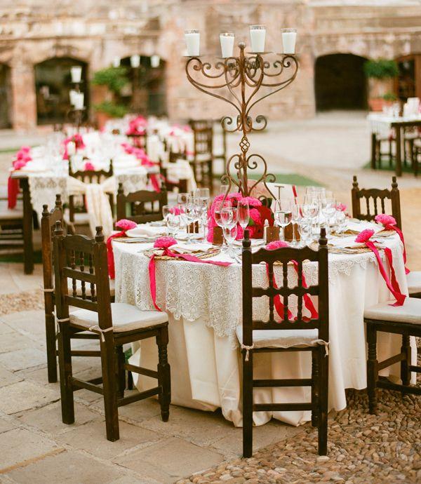 Dramatic wedding tables