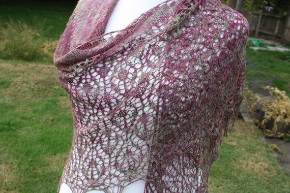 Tussah Silk Hand Knit Lace Shawl by WrapsodyInLace on Etsy, £105.00