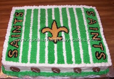 Asher's request for his Football Birthday Cake.  But Tenino Beavers instead of Saints