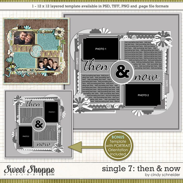 Cindy's Layered Templates - Single #7: Then and Now  by Cindy Schneider