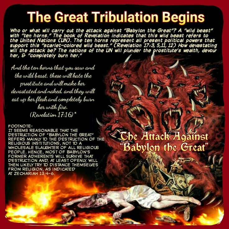 And the ten horns that you saw and the wild beast, these will hate the prostitute and will make her devastated and naked, and they will eat up her flesh and completely burn her with fire. (Revelation 17:16)*