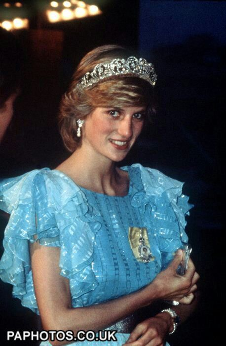 June 18, 1983: Princess Diana at a State Dinner in Saint John, New Brunswick, Canada during the Royal Tour of Canada. (Day 5)