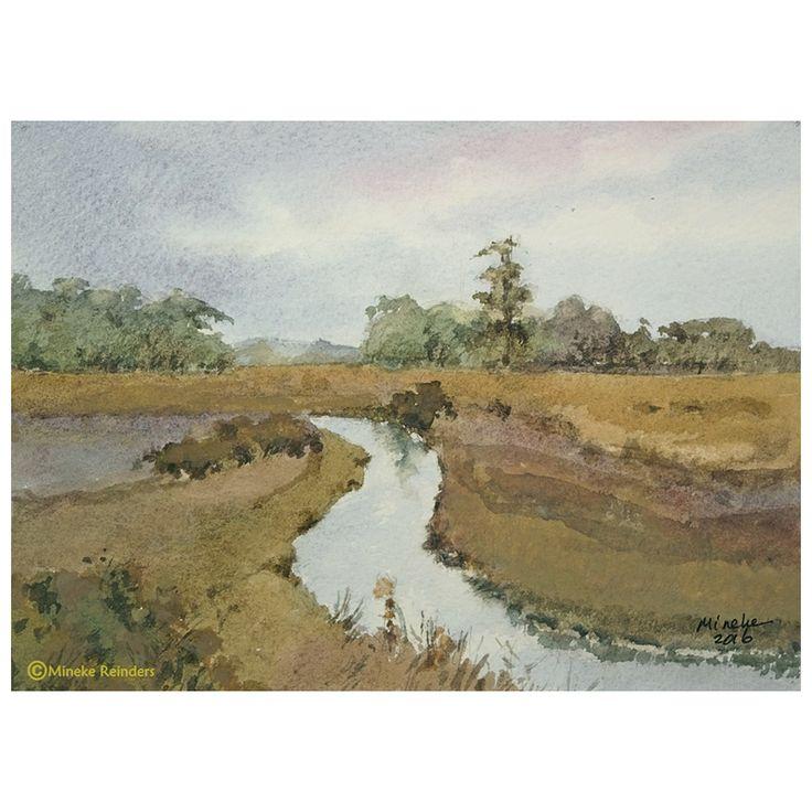 Herfstlandschap met beek Autumn landscape with stream Watercolor on Millford, 13×18 cm Location: Near Deurze, the Netherlands €125