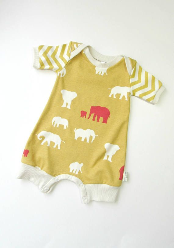 a6e3251fdbb ORGANIC Baby romper with snaps Baby elephants mustard