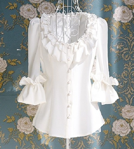 Would work well with a long sleeve shirt. Just shorten the sleeves and add the ruffles