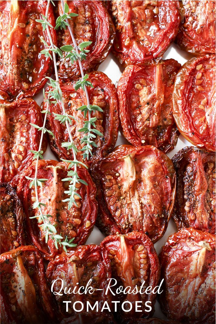 Luscious flavor bombs, roasted tomatoes are perfect accompaniments to meat or poultry, stand-alone appetizers or add-ins to countless recipes. This hot-oven short cut, is great when you don't have 3-4 hours to slow roast.