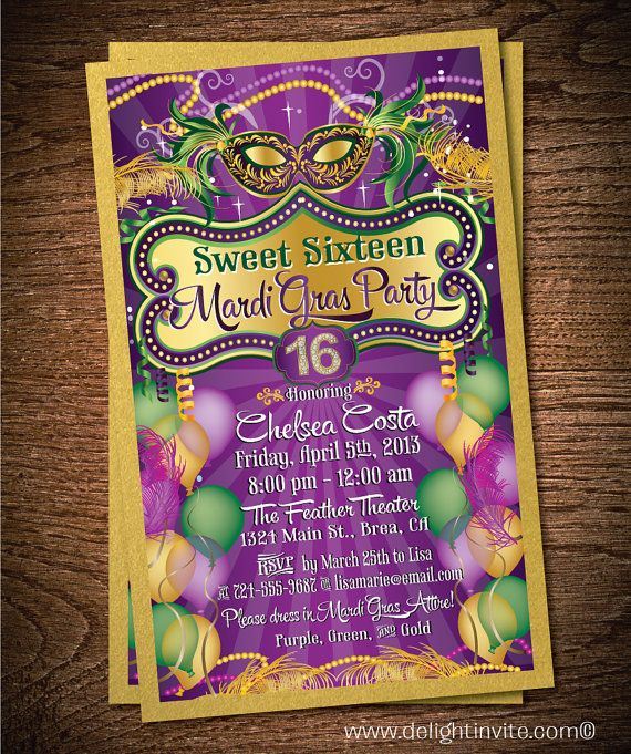 Sweet 16 Mardi Gras Birthday Invitation & Custom Envelope