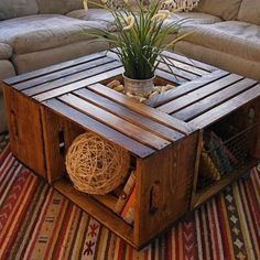 """<b>Upcycle Crates</b><p>This incredible <a rel=""""nofollow"""" href="""" www.bobvila.com...; title="""" target=""""_blank"""">crate table</a> couldn't be easier. Screw casters to a sheet of plywood to form the base of your table, and then secure the crates to the top, making sure to face them outward to serve as handy shelves. Finish with a little stain, and this table is ready to roll.</p…"""