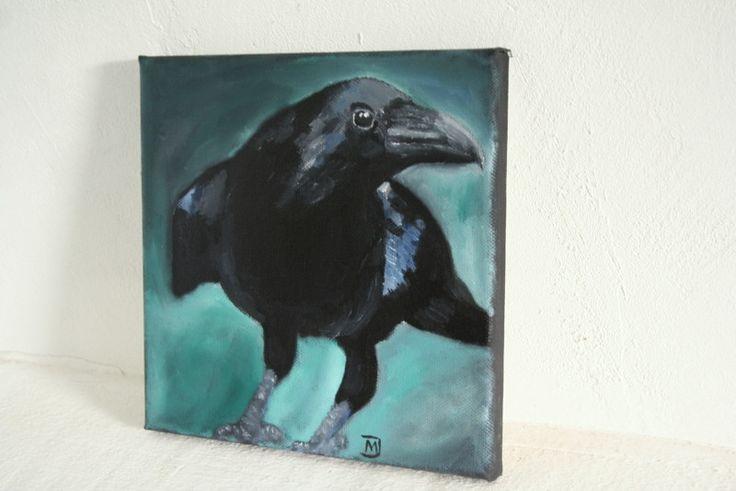 Ölmalerei - Rabe, Gemälde, Bild, Leinwand - MJ-Arts - ein Designerstück von Atelier-MJ-Arts bei DaWanda