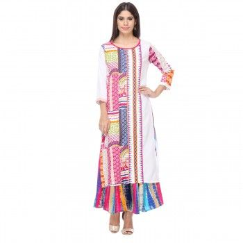 Cotton Multicolour Printed Stitched Kurti With Palazzo - U165170P1
