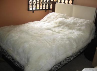 White fur Bedspread, Blanket made of pure baby alpaca fur