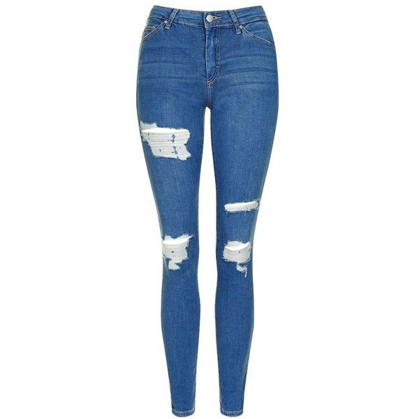 Women's Topshop Moto 'Leigh' Super Ripped Ankle Skinny Jeans ($75) ❤ liked on Polyvore featuring jeans, pants, torn jeans, mid rise skinny jeans, mid-rise jeans, skinny jeans and blue ripped jeans