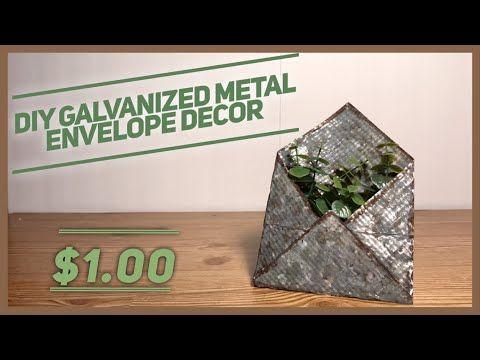 DIY Dollar Tree Galvanized Envelope Planter Decor …