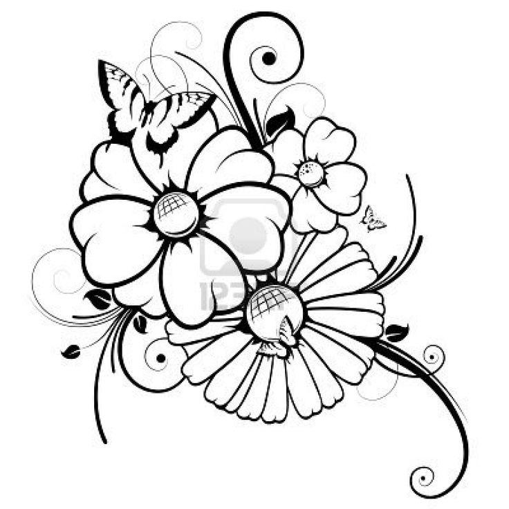 Цветы на открытку контур рисунок, анимация картинки