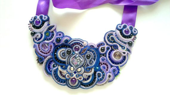 Soutache necklace. Bib Statement OOAK Bead by NastyaUsevichDesigns