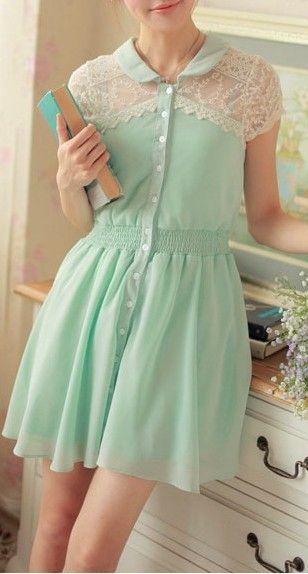 Mint lace shoulder dress~ cute
