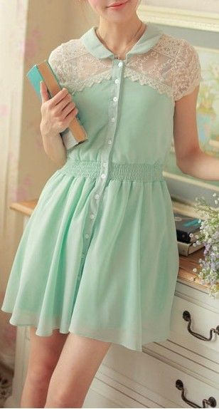 Mint lace shoulder dress