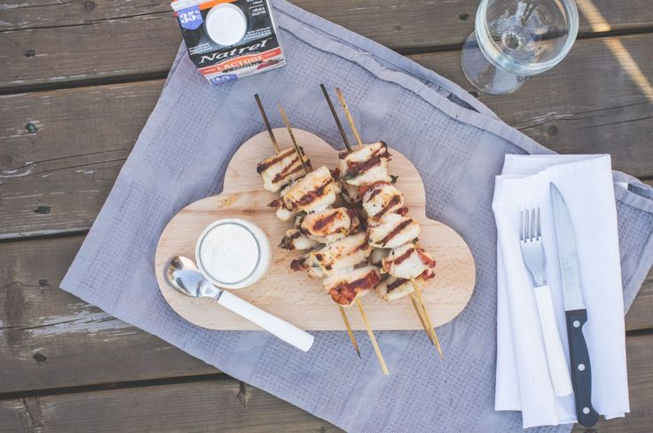 Saltimbocca-style chicken kebabs with Parmesan whipped cream