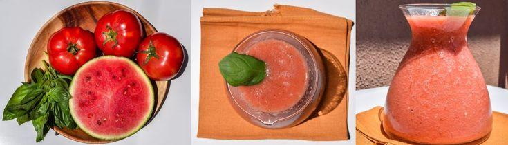 Refresco de tomate, sandía y albahaca. http://biografiadeunplato.com/este-verano-solo-refrescos-saludables/