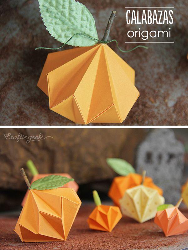Lindas calabazas de origami como decoraci n puedes hacer - Hacer calabaza halloween ...