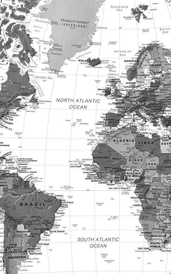 Black White Detailed Map Wallpaper Mural Hovia Uk World Map Wallpaper Map Wallpaper World Map Mural