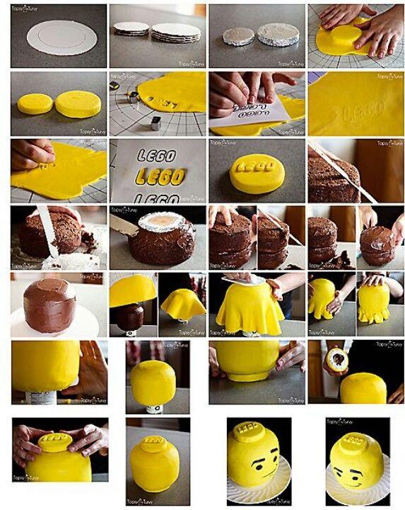 Lego Head cake how to. Super cute!