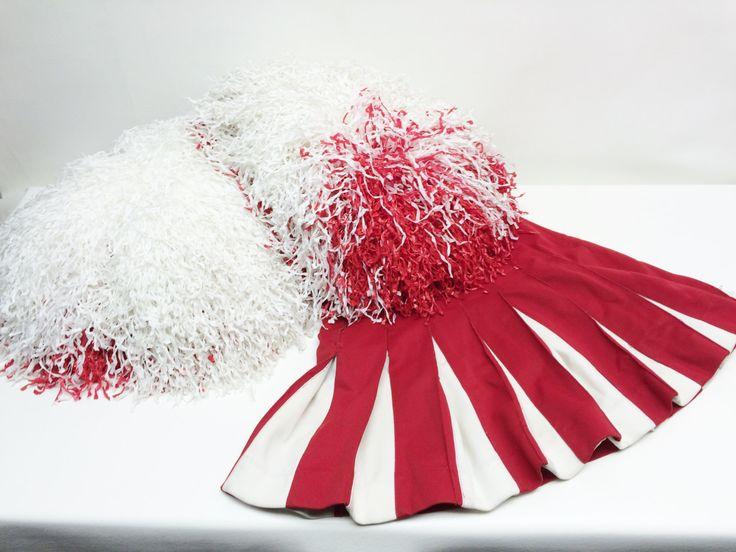 Cheerleading Pom Poms - Red and White Pom Poms - 1980's Cheerleading Pom Poms…