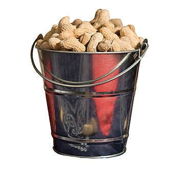 Our Tin Bucket features a silver metallic finish and moveable handle. Each tin bucket measures 5 1/2 inches high, has a 5 3/4 inch diameter opening and a base that is 3 7/8 inches in diameter. Spice up your party tables or home bar with these affordable tin buckets filled with peanuts, pretzels or other snacks. The possibilities are endless!