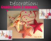 Déco murale : Etoiles tons orange et fushia à suspendre pour Noël : Décoration pour enfants par rolli-n-roll