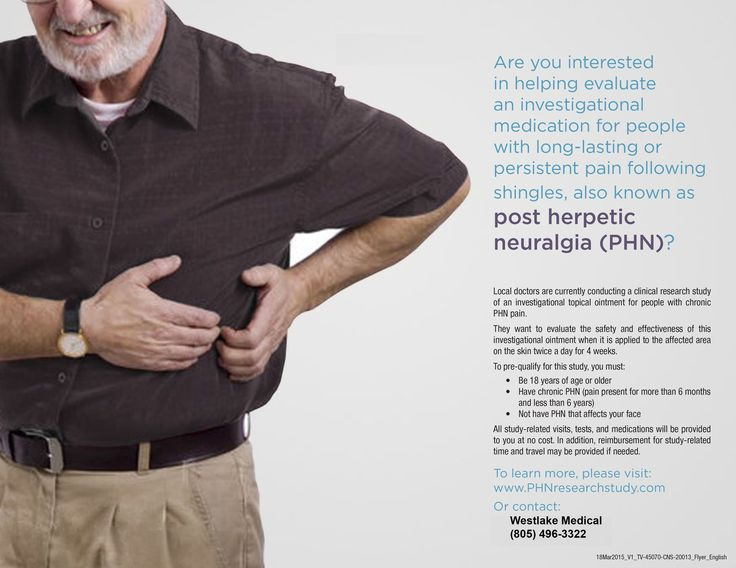Are you interested in helping evaluate an investigational medication for people with long-lasting or persistent pain following shingles, also known as post herpetic neuralgia (PHN)? Local doctors are currently conducting a clinical research study of an investigational topical ointment for people with chronic PHN pain. They want to evaluate the safety and effectiveness of this investigational …