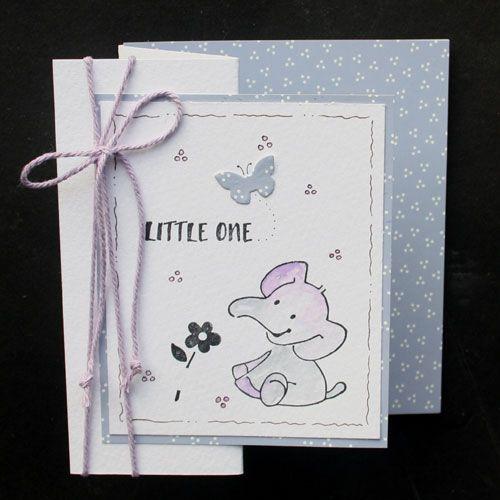 In dit blogbericht zie je gestempelde kaarten met olifantjes erop.