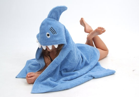Blue Shark hooded towel by Yikestwins on Etsy, $39.00