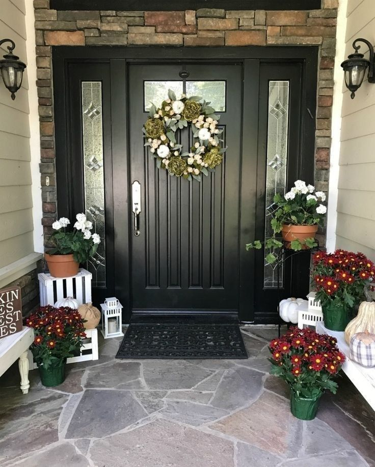 61 Fabulous Farmhouse Front Porch Decorating Ideas You Have Must See Front Door Fall Decor Front Door Decor Front Porch Decorating