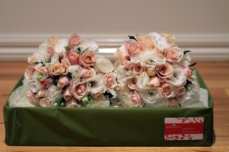 Mixture of pink & apricot roses, with white lissianthus #weddings  www.RedEarthFlowers.com.au
