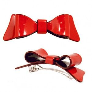 Hair Clip Double Bow  Red & Black  10cm x 3cm